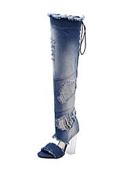 cheap -Women's Shoes Denim Summer / Winter Comfort / Novelty / Gladiator Boots Stiletto Heel Blue / Club Shoes / Wedding / Party & Evening