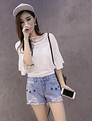 Sign 2017 summer new Korean Women pentagram light frayed denim shorts shorts