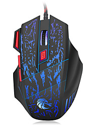 economico -HXSJ brand gaming mouse with 7 buttons and breathing lights of 7 colors  ABS 1000, 1600, 2400, 3200 ,5500 DPICorto Trackball e touchpad