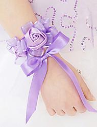 abordables -Fleurs de mariage Forme libre Roses Petit bouquet de fleurs au poignet Mariage La Fête / soirée Satin