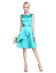 cheap -A-Line Off-the-shoulder Knee Length Satin Bridesmaid Dress with Sash / Ribbon Ruffles by LAN TING BRIDE®