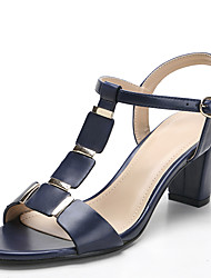 Sandals Spring Summer Fall Toe Ring PU Office & Career Dress Casual Chunky Heel Rivet