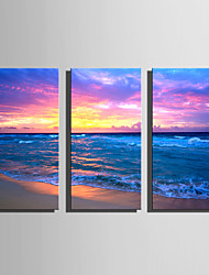 E-HOME Stretched Canvas Art Clouds Under The Sea Decoration Painting Set Of 3