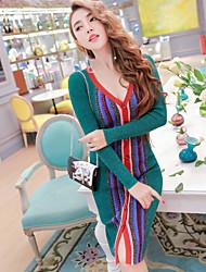 Trapèze Robe Femme Quotidien Plein Air Coréen,Décoration artistique Col en V Mi-long Manches Longues Non Disponible Automne Taille Haute