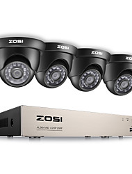 ZOSI® 8CH HD-TVI 1080P Lite Video Security System DVR Recorder with 4x HD 1280TVL Weatherproof CCTV Camera
