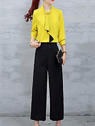 Maglietta Pantalone Completi abbigliamento Da donna Per uscire Casual Ufficio Vintage Semplice Divertente All Seasons Estate,Tinta unitaA