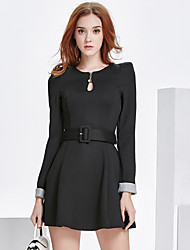Women's Anniversary Business Office & Career Vintage A Line Dress,Mixed Color Round Neck Above Knee, Mini Long Sleeves N/A Fall High Rise