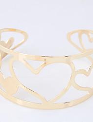abordables -Mujer Hueco Pulseras de puño / Brazalete ancho - Corazón Moda Pulseras y Brazaletes Dorado / Plata Para Fiesta