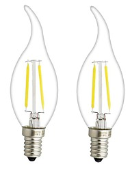 cheap -ONDENN 2pcs 3W 300 lm E14 E12 LED Filament Bulbs CA35 2 leds COB Dimmable Warm White AC 220-240V AC 110-130V