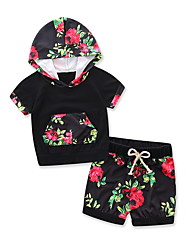 cheap -Unisex Daily Sports Going out Floral Print Clothing Set,Cotton Modal Summer Short Sleeve Floral Black
