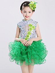baratos -Balé Vestidos Crianças Espetáculo Elastano Tule Lantejoula Cristal/Strass Fru-Fru Sem Manga Alto Vestido Decoração de Cabelo