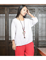 Sign # 2017 new spring bottoming shirt cotton sen weibliche literarische linen lose runde hals t-shirt frauen