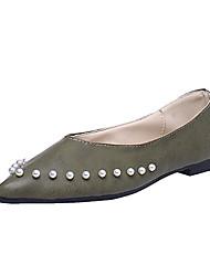 Women's Sandals Comfort PU Spring Summer Casual Dress Comfort Imitation Pearl Flat Heel Black Green Blushing Pink Light Brown Khaki Flat