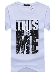 cheap -Men's Sports Weekend Cotton Slim T-shirt - Letter, Print Round Neck