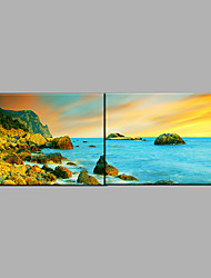 cheap -Hand-Painted Sea Landscape Oil Painting Two Panel Canvas Oil Painting Per Panel Size 60*90CM