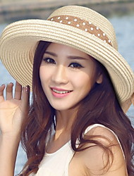 Women 's Summer Dome Curling Dot Printing Foldable Ribbon Bowknot Linen Fisherman Straw Hat