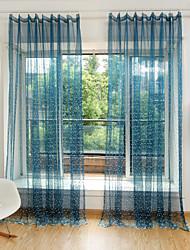 A scorrimento Ad anello Con passanti in stoffa A piega doppia Due pannelli Trattamento finestra Fiore decorativo Camera da letto Tessuto