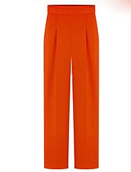 Femme Style de Bureau Taille médiale non élastique Ample Pantalon,Droite Couleur unie Couleur unie