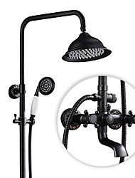 Antique Country Modern Shower Only Rotatable with  Ceramic Valve Two Handles Two Holes for  Antique Copper , Shower Faucet
