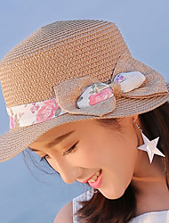 cheap -Women 's Beach British Bow Cloth Flat Top Sunscreen Straw Hat