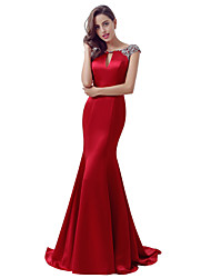 Mermaid / Trumpet Jewel Neck Sweep / Brush Train Satin Formal Evening Dress with Beading by Sarahbridal