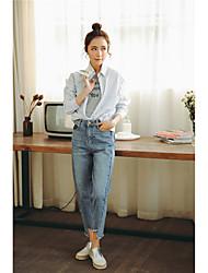 Sign 2017 spring new Korean wild irregular edges trousers nine points jeans