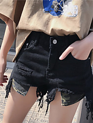Sign Nett! Tassel waist Korean version of the original hole was thin denim shorts female shorts Nett!