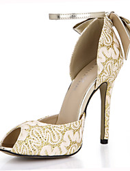 sandali estivi Club party di nozze in tessuto&abito da sera di bowknot argento oro
