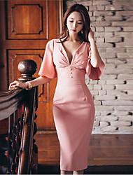 billige -Damer I-byen-tøj Fest/cocktail Bodycon Kjole Ensfarvet,Dyb V Midi 1/2 ærmelængde Silke Sommer Højtaljede Mikroelastisk Tynd