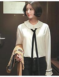 корея приобретение новой весной 2017 женщин&# 39, S мода сладкий опрятный галстук рубашка