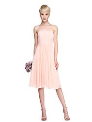 cheap -A-Line Strapless Knee Length Chiffon Bridesmaid Dress with Sash / Ribbon Side Draping by LAN TING BRIDE®