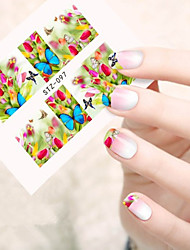 10pcs/set Summer Hot Sweet Style Nail Art Sticker Beautiful Flower&Butterfly Nail Water Transfer Decals Sweet Design STZ-097