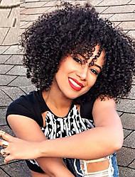 Donna Parrucche sintetiche Senza tappo Medio Riccio Nero Per donne di colore Riga al centro Parrucca riccia stile afro Parrucca di