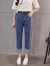 знак новая зимы корейского способ двойная талия без снарядов промытых прямых краев девяти очков джинсов женских брюки широких ног