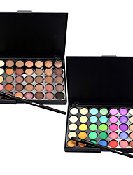 billige Øyemakeup-40 Color Eyeshadow (2 Color Set to Choose)+ 1 Eyeshadow Brush Øyenskygger Sminkebørster Tørr Matt Glans Øye Ansikt Forlenget Glitter