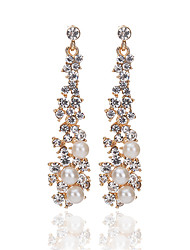 cheap -2017 High Quality Fashion Temperament Elegant Pearl Rhinestone Earrings For Women Long Tassel Drop Earrings Bride Wedding Accessories