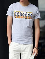 Verano verano 2017 nuevos hombres&# 39; s cuello redondo manga corta camiseta de impresión slim compasivo jóvenes