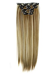 cheap -Synthetic Hair 58cm 130g  with Clips 16 Clip in Hair Extensions False Hair Hairpieces Synthetic 23inch Long Straight Apply Hairpiece D1014 6H613#