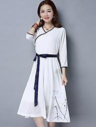 2017 printemps et été loisirs petit tempérament blanc robe fan art rétro vent national vent
