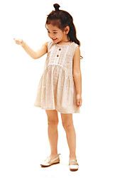 cheap -Girls' Solid Colored Sleeveless Dress