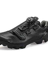 abordables -SANTIC Chaussures de Vélo de Montagne Fibre de Carbone Antidérapant, Respirable, Antiusure Cyclisme Noir Homme / Boucle microlock forgée / Ajusteur de sangle