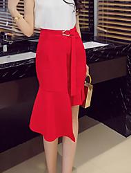 preiswerte -Damen Übergrössen Ausgehen Bodycon Röcke - Solide Schleife Gespleisst