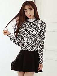 modèle vrai coup de 2017 printemps version coréenne du côté feuille de lotus mis sur une grande taille col était mince fausse robe en deux