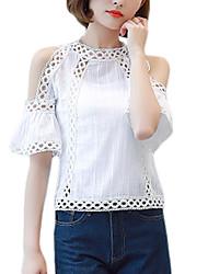 Feminino Blusa Para Noite Trabalho Vintage Sofisticado Sólido Raiom Colarinho Chinês