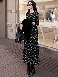 Women's Dailywear Date Vacation Boho A Line Dress,Dots Round Neck Maxi Long Sleeves N/A Spring Fall High Rise Inelastic Medium
