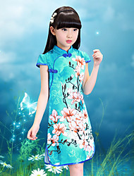 cheap -Girl's Daily Going out Holiday Floral Print Dress,Cotton Summer Short Sleeve Floral Cartoon Blue White