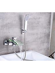 abordables -Contemporain Set de centre Cascade with  Soupape céramique Mitigeur deux trous for  Chrome , Robinet de baignoire