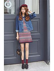 real shot weibliche koreanische Mantel Kurzmantel mit langen Ärmeln Jeansjacke dünne Damen Jacke