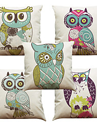 Set of 5 Big Eyes Owl Pattern  Linen Pillowcase Sofa Home Decor Cushion Cover (18*18inch)
