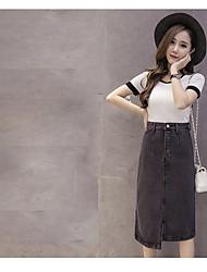 Sign Spring new Korean version was thin denim skirt irregular